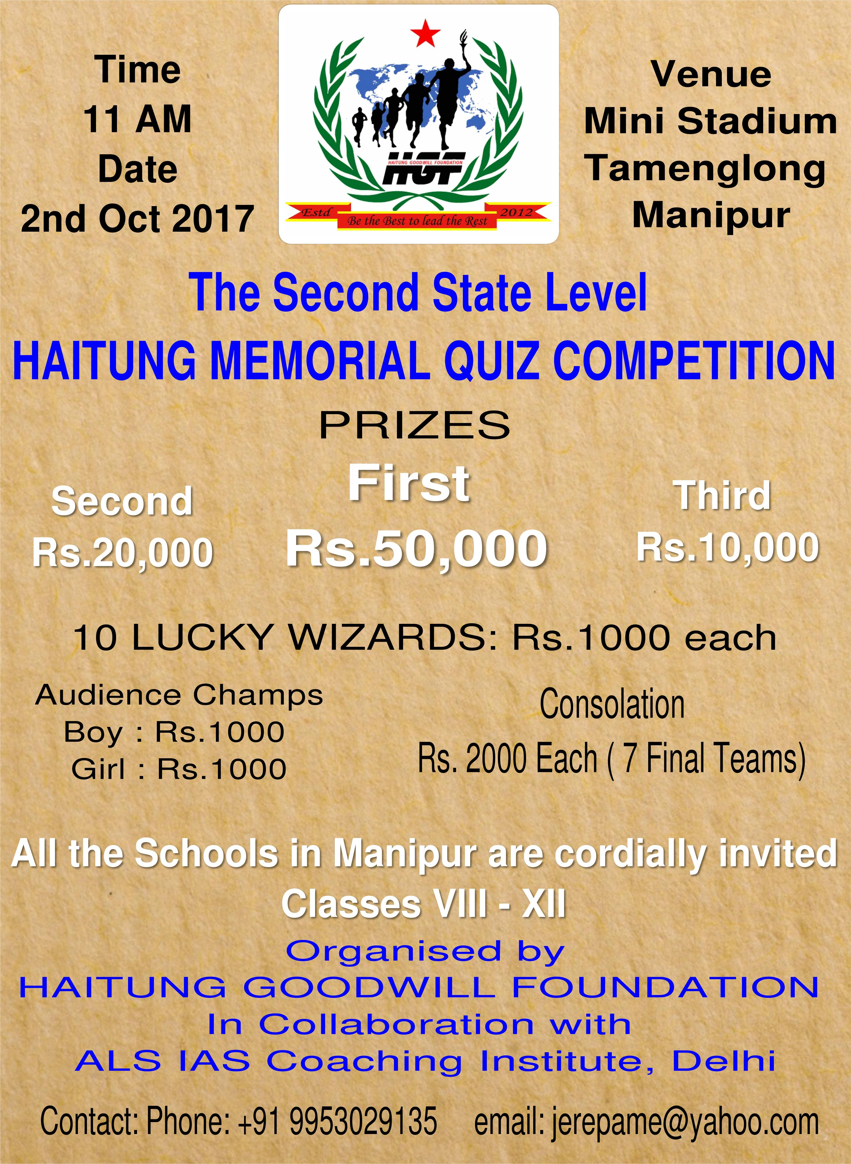 The Second State Level HAITUNG MEMORIAL QUIZ COMPETITION